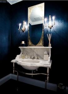 Desire To Decorate, Martha Stewart, dark paint, guest bathroom