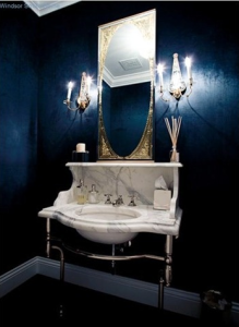 Desire To Decorate, Martha Stewart, dark paint, guest bathroom