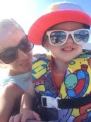 Mom and Preston on boat