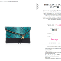 Green Multi Debutante Snake Clutch: $278.00